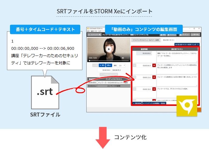 SRTファイルをSTORM Xeにインポート