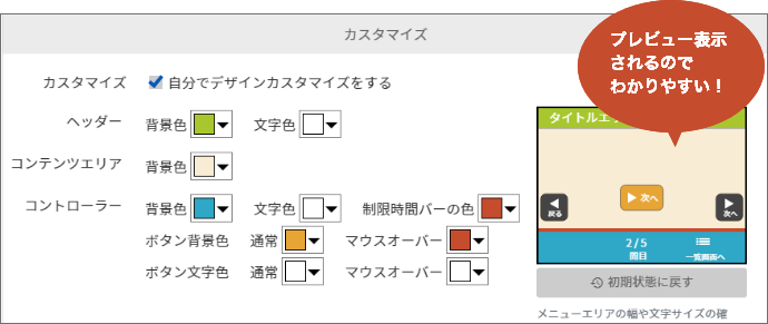 簡易カスタマイズ編集画面